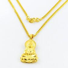 "Promotion Price 24K Gold GP Buddha Pendant Women Men Necklace 2MM 18""  jP024"