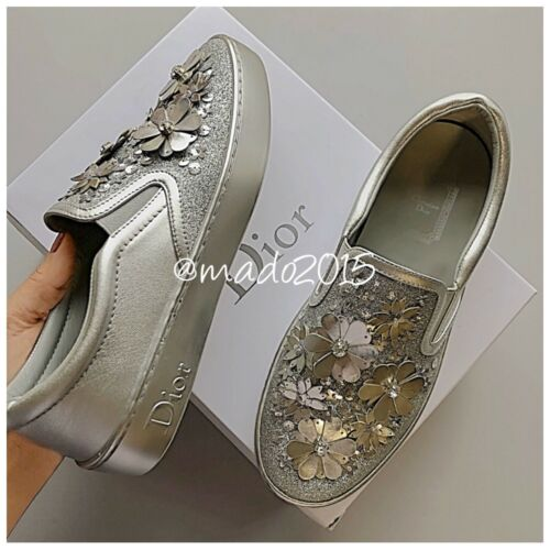 Dior Shoes Happy Embroiderer Silver Flower Size 6.