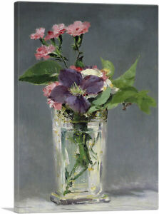 Pinks and Clematis in a Crystal Vase 1882 Canvas Art Print by Edouard Manet