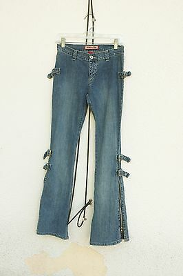 VANILLA STAR Size 3 Gothic Punk Zippers Adjusters Ombre Wash Denim Jeans
