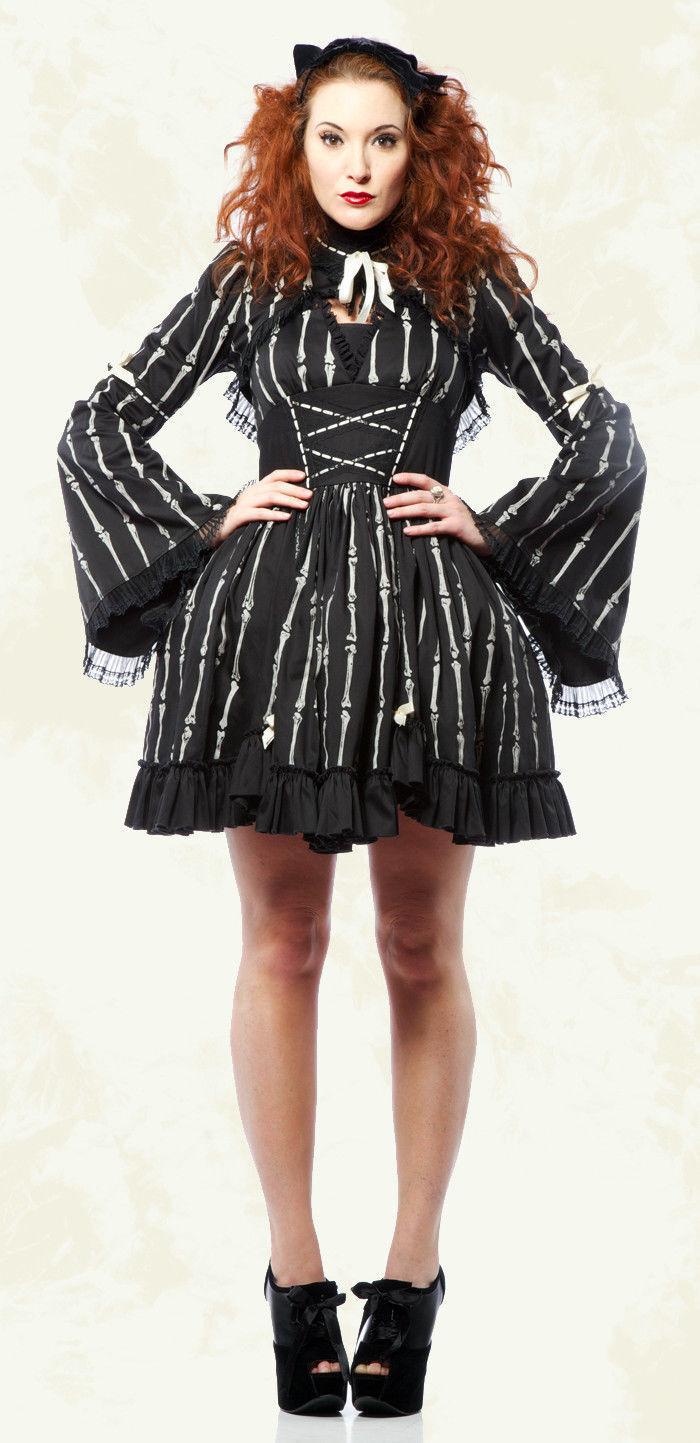 Lip Service Lolita Bones Gothic Steampunk EGL Bell Sleeve Shrug Top Jacket