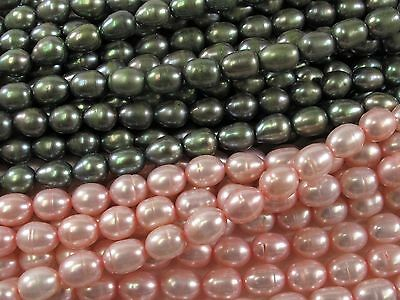 #282 5-6 x 7mm Rice//Oval Genuine Cultured Freshwater Pearl Beads Green OR Pink