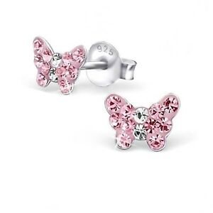 Rosa-Kristall-Schmetterling-Ohrstecker-925-Echt-Silber-Kinder-Maedchen-Ohrringe