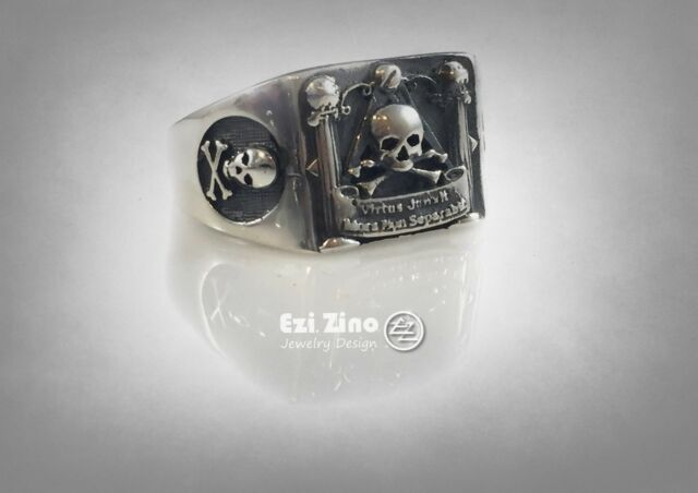 MASONIC SKULL AND PILLARS FREIMAURER SOLID STERLING SILVER 925 RING Ezi Zino