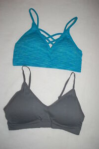3ac0056149221 Womens 2 LOT SEAMLESS SPORTS BRA Padded TURQUOISE VARIEGATED Ash ...