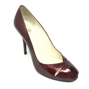 Women-039-s-Stuart-Weitzman-Pump-Heels-Shoes-Size-9-5-M-Burgundy-Patent-Leather-I15