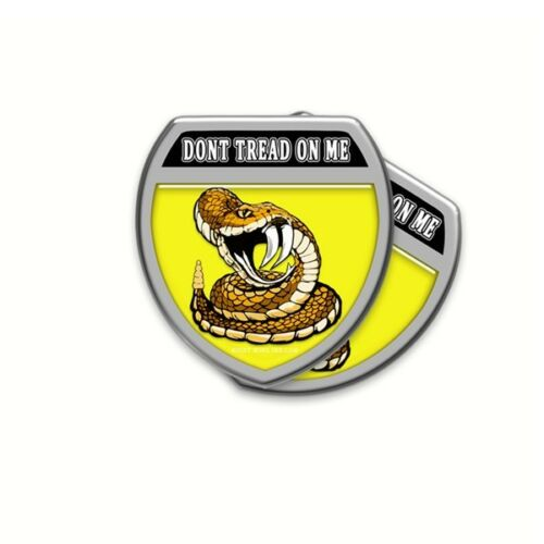 Dont Tread On Me Gadsden Flag Style Shield Shaped Decals Stickers 5 pack