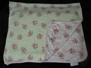 First Impressions Rose Baby Blanket Pink Green White Reversible Flowers Girl