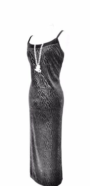 JOSEPH RIBKOFF Black & Silvery Slinky Velvet Size 12 Ladies Designer Dress LBD
