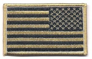 Coyote-Black-Tan-United-States-US-REVERSE-Flag-Patch-VELCRO-BRAND-Fastener