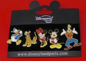 Disney-Disneyland-Resort-Paris-FIVE-Small-Enamel-Pin-Badges-on-Backing-Card