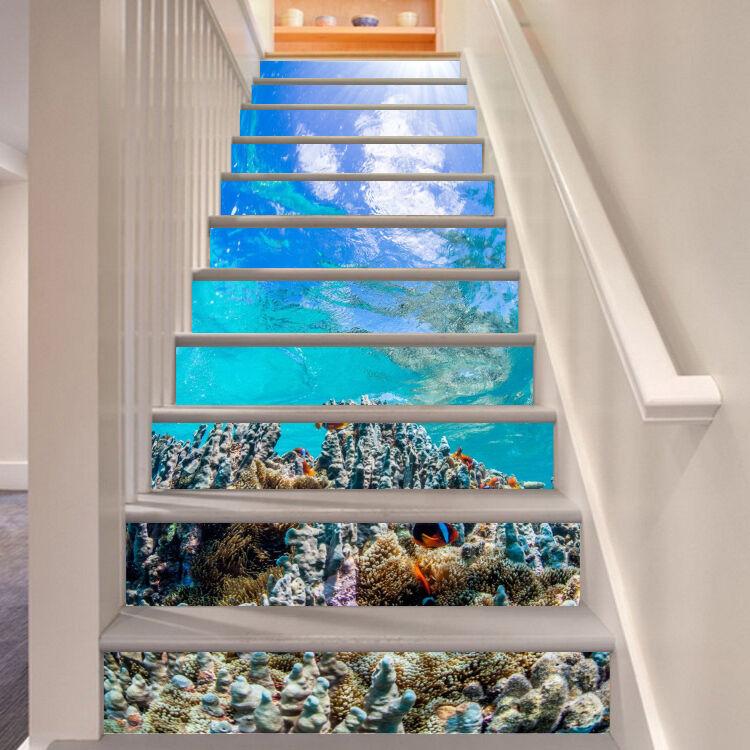 3D Ozean Koralle 68 Stair Risers Dekoration Fototapete Vinyl Aufkleber Tapete DE