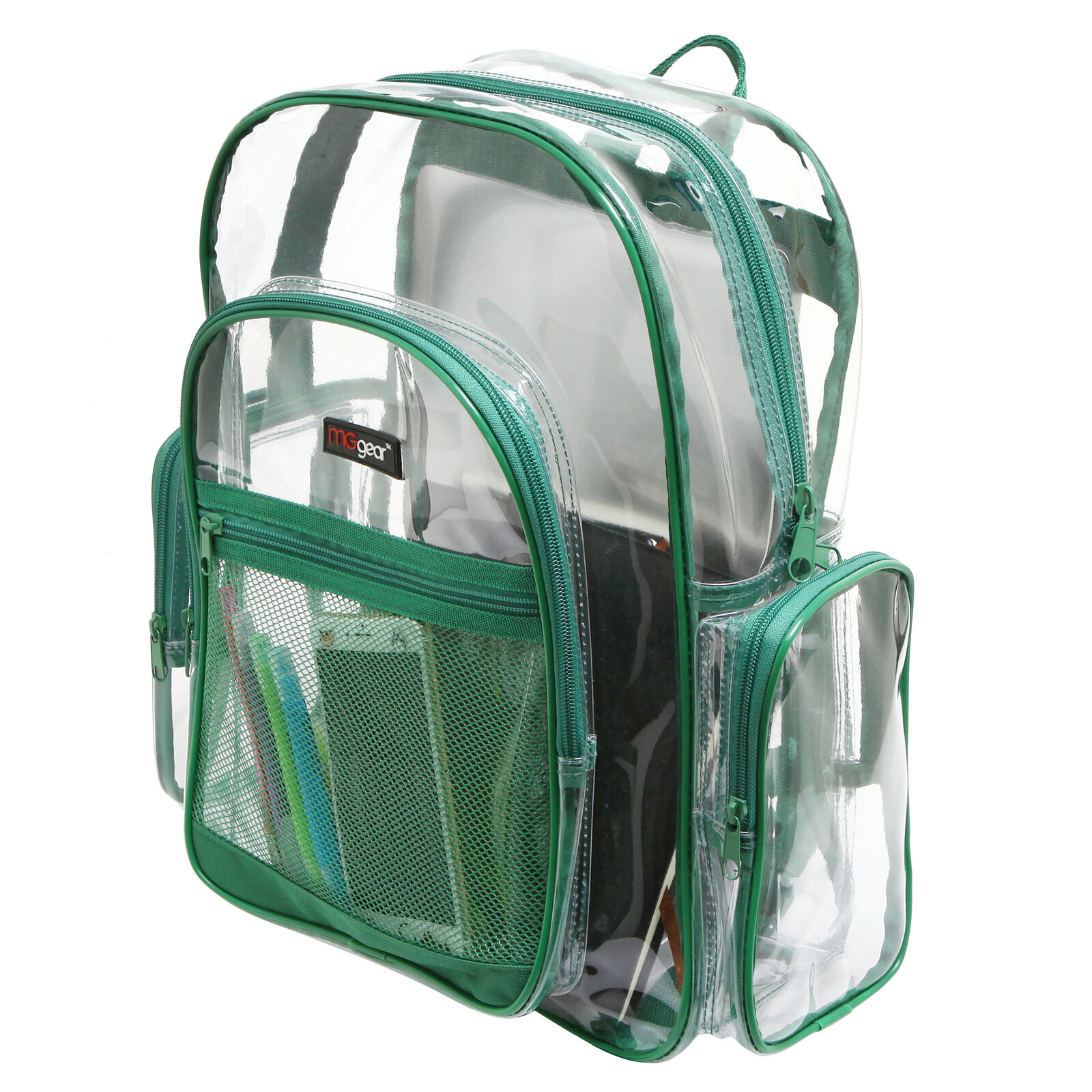 Clear Backpacks, Heavy Duty Transparent Backpack for Work, School, Green Trim