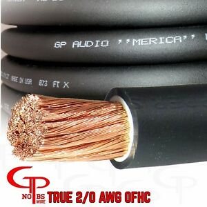 De S About 5 Ft True Awg 2 0 Gauge Copper Power Wire Black Ground Cable Gp Car Audio Usa