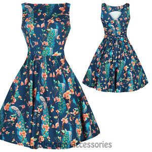 RKL36-Lady-Vintage-London-Peacock-Teal-Dress-50s-Party-Rockabilly-Swing-Retro