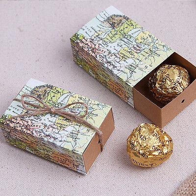 100pcs World Map Printing Wedding Favor Candy Box Birthday Party Gift Bag