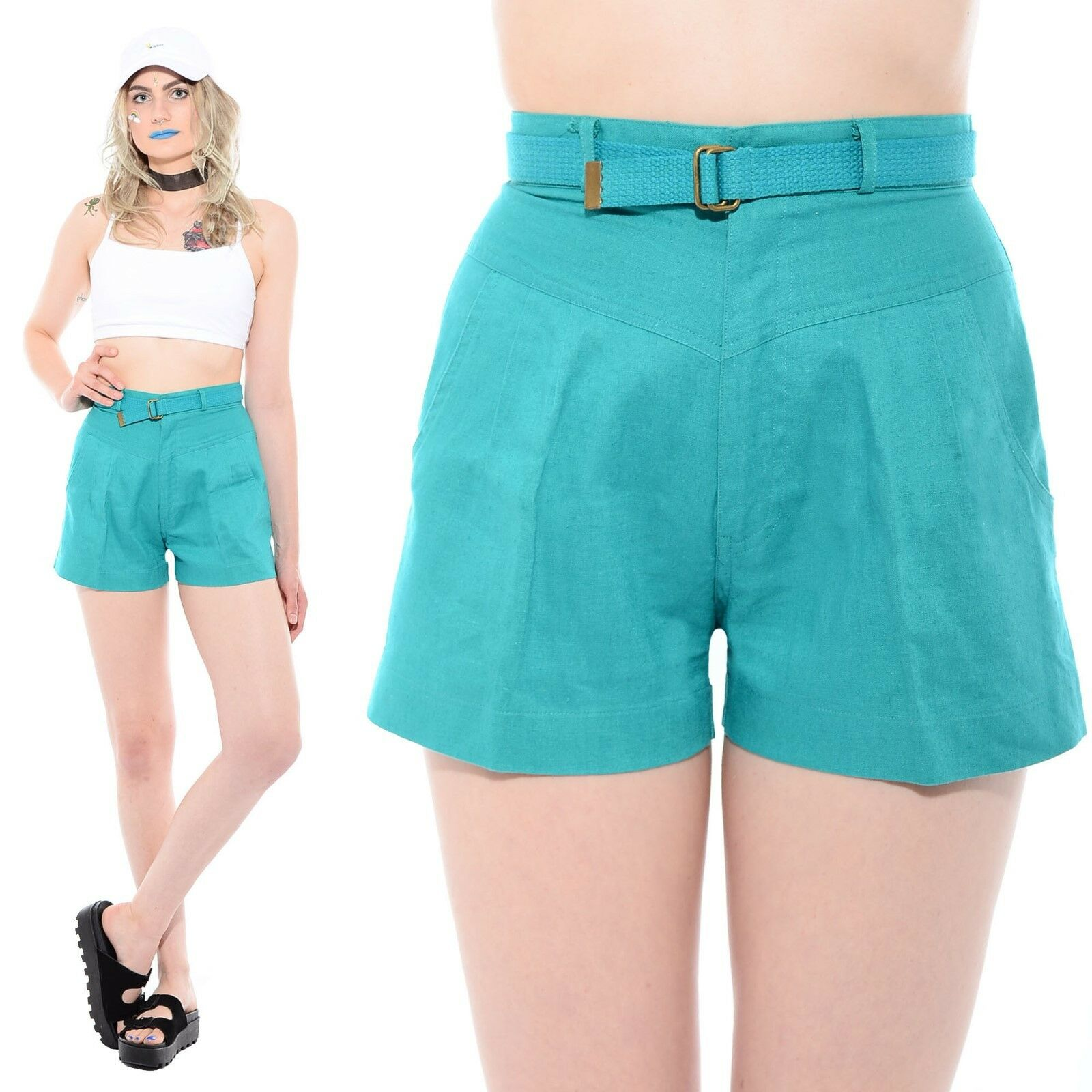 Vintage 80s 90s Turquoise HIGH WAIST Preppy Belted Pleated Front Mom Shorts XS