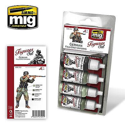 Ammo de Mig-German Field Grey Uniforms (figures) Peinture Acrylique Set # MIG-7021