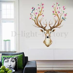 Sika-Deer-Flower-Bird-Tree-Removable-Wall-Sticker-Mural-Decal-Home-Art-Decor