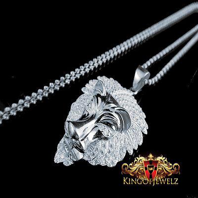 14k White Gold Finish Lab Diamond Lion Head 3D Pendant Iced Charm Chain Combo