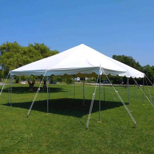20x20/' Commercial Pole Tent Party Wedding Canopy With 2 Solid 2 Window Sidewalls