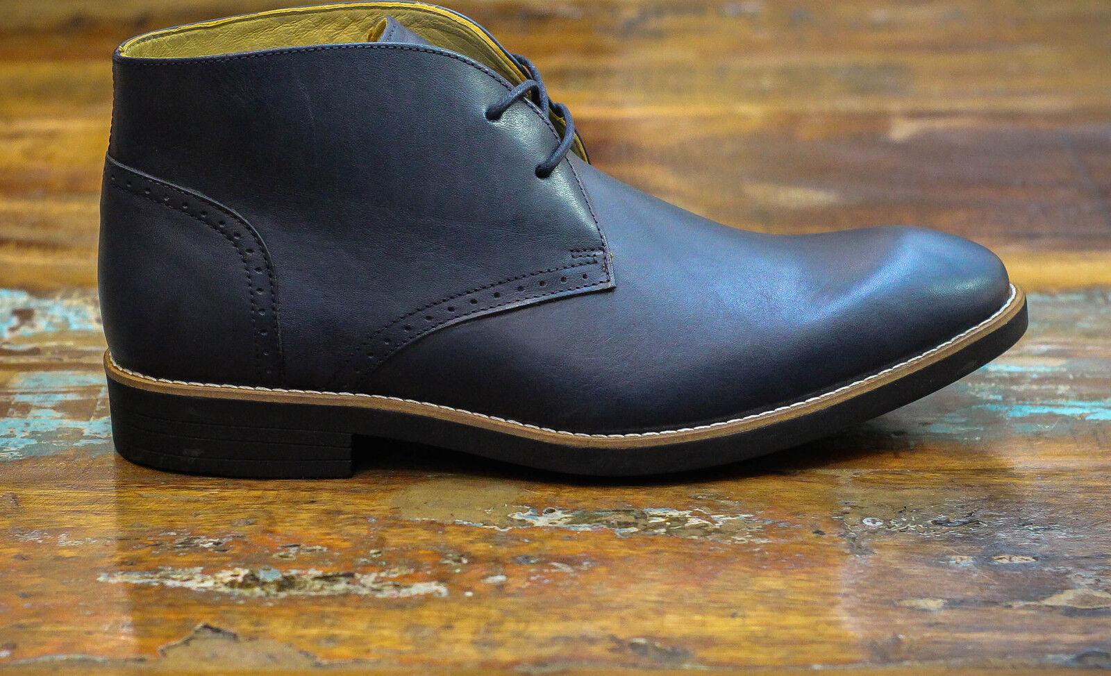 Steptronic Navy bluee Calf Leather Chukka Desert Comfort Boots Sheepskin