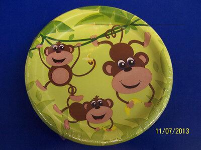 "Monkeys Jungle Safari Animal Monkey Kids Birthday Party 7"" Paper Dessert Plates"