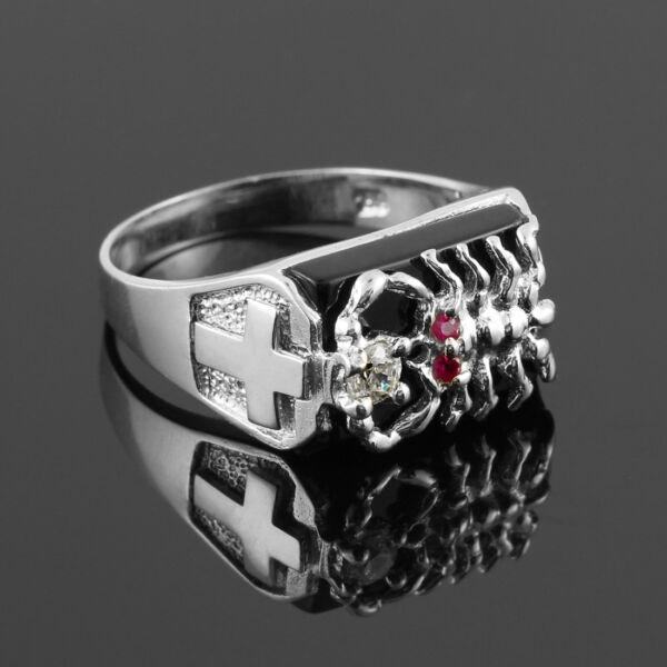 14k Weiss Gold Schwarzer Onyx Skorpion Ehering Sternzeichen Statement Ring üPpiges Design