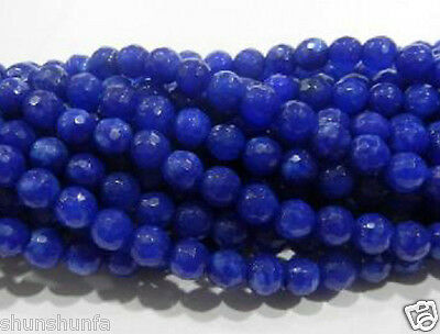 6mm Faceted AAA+++ Natural Blue Sapphire Round Gemstone Loose Beads 15''