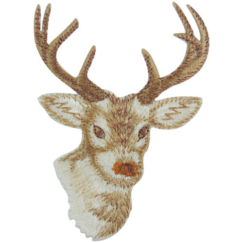 Deer Head Sambar Wild Animal Zoo Forest Iron-On Patches Jacket Shirt Cap #A060