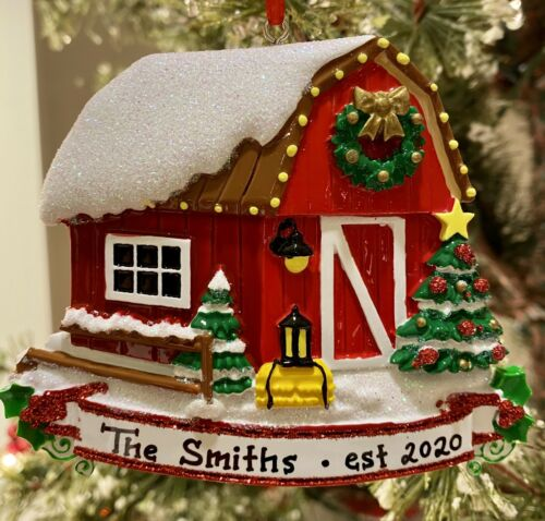 PERSONALIZED CHRISTMAS TREE ORNAMENT 2020 Couples Family New House 1st Home BARN