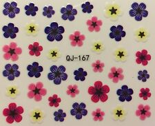 Nail Art 3D Decal Stickers Pretty Various Colored Flowers QJ-167