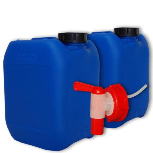 Leerkanister aus Plastik 5 Liter blau DIN 51 mit Kanisterzubehör  Zapfhahn 2 St