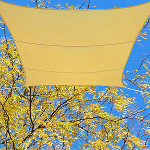 Patio Cover Breathable Mesh Sun Sail Shade Awning Shelter Sand 13' Foot Square