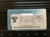 Loose Diamond Round Cut Brilliant .47ct 5mm I2 H Graded Certified