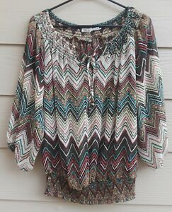 Body Central Sale >> Details About Body Central Women S M 3 4 Sleeve Smocked Hem Multi Color Chevron Tunic Top