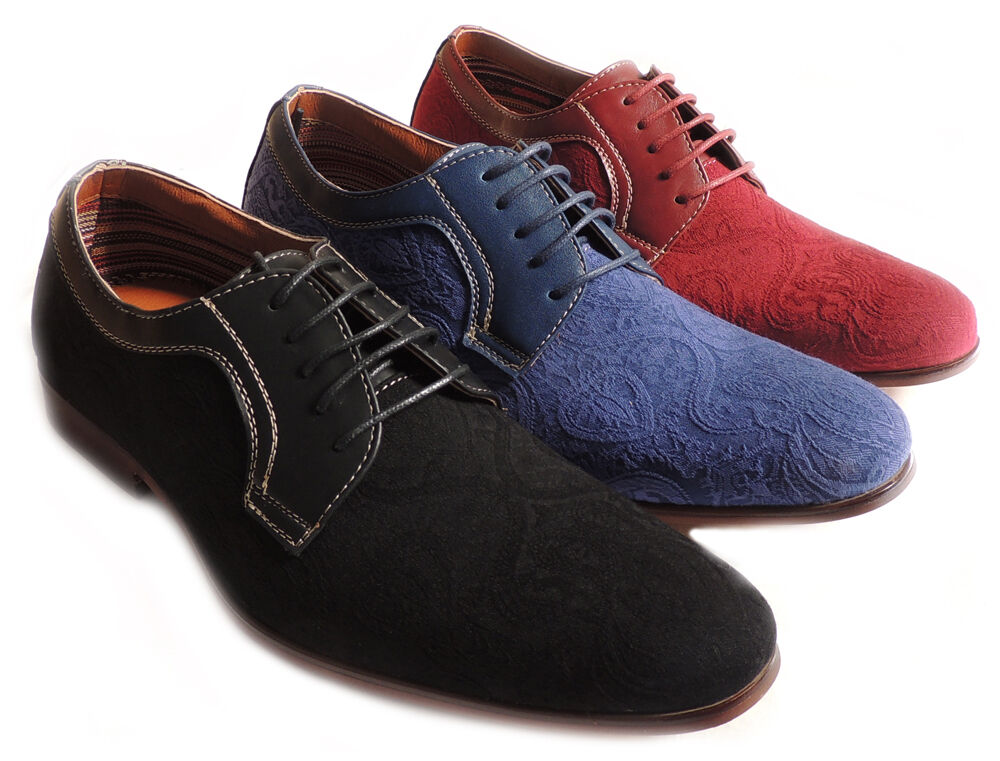 NEW FASHION MENS FLORAL EMBROIDERY ROUND TOE LACE UP OXFORDS DRESS SHOES