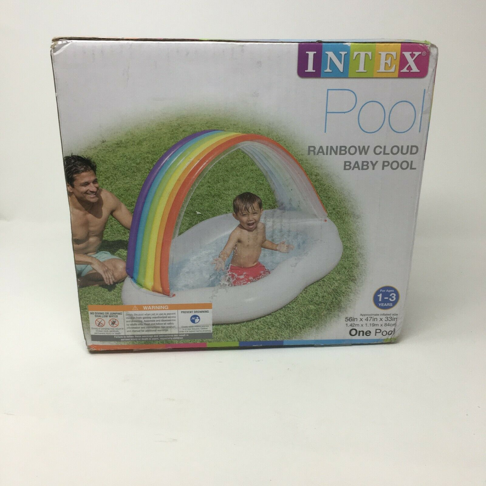 Intex Rainbow Cloud Inflatable Baby Pool, for Ages 1-3