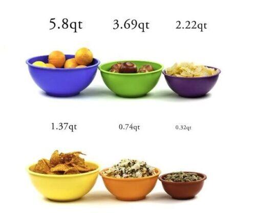 Nested Melamine 6 Pcs Mixing Bowls Salad Bowl Set Bright Color Coded