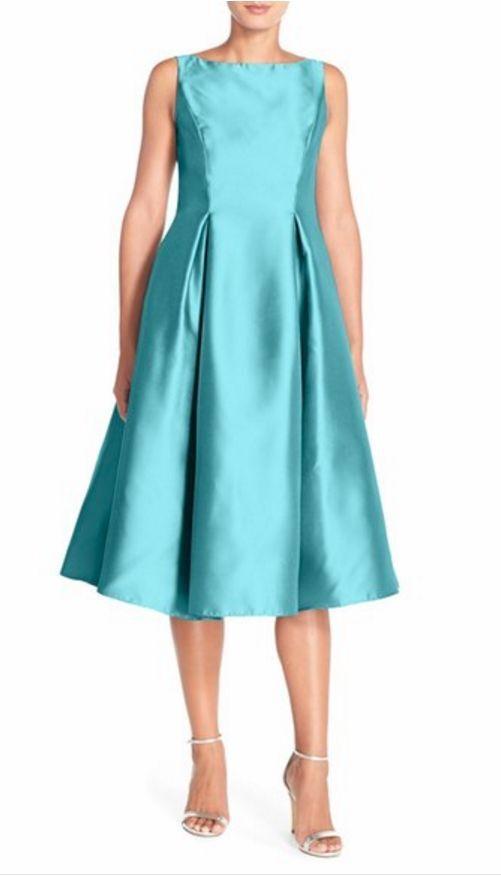 Adrianna Papell Sleeveless Mikado Fit & Flare Midi Dress (Size 4)
