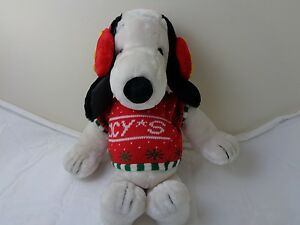 Macys Christmas Sweaters.Details About Vintage Macy S Snoopy Christmas Sweater Plush With Woodstock Ear Muffs