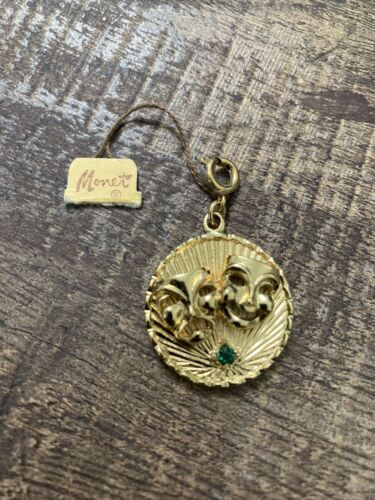 Vintage gold tone MONET comedy tragedy Charm NOS