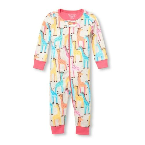 NWT The Childrens Place Giraffe Floral Girl Stretchie Romper Sleeper Pajamas