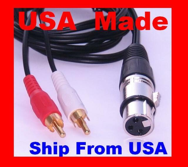 6ft 2-XLR 3C Right-Angle Female to 2-RCA Male Stereo Audio Cable XR-A106RA