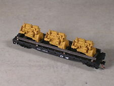 N Scale 50 foot Flat Cat with Marine Diesel Engines Load, #b40