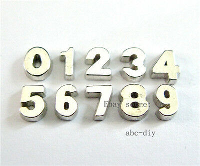 10pcs 0-9 chrome Floating Charms Numbers for the floating Locket Free Shipping