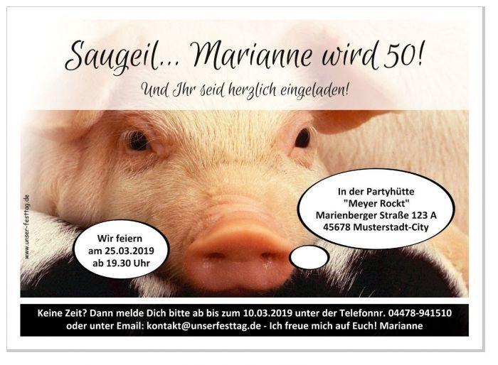 Lustige Einladungskarte Geburtstagseinladungen Text 30 40 50 Jahre cool Schwein | 2019  | Komfort