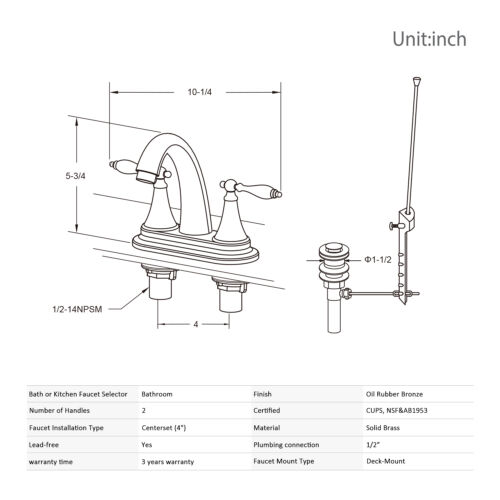 "2 Set of Bathroom Faucet ORB 4/"" Centerset Drain Lavatory 2 Handle Mixer Tap"