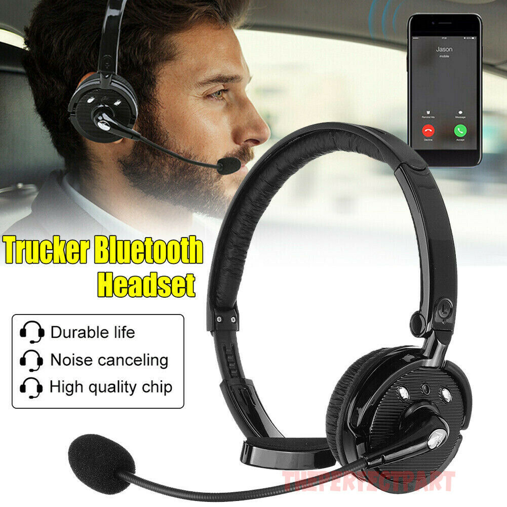Noise Cancelling Wireless Bluetooth Headset Over The Head Boom W Mic For Trucker Ebay