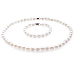 Pearl Necklace & Bracelet Jewellery Set Sterling Silver White Freshwater Pearls